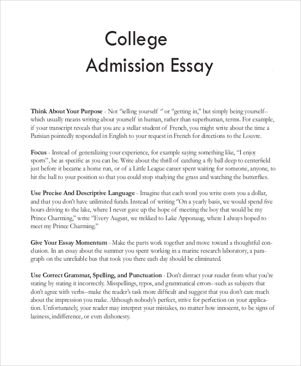 College entrance essays examples