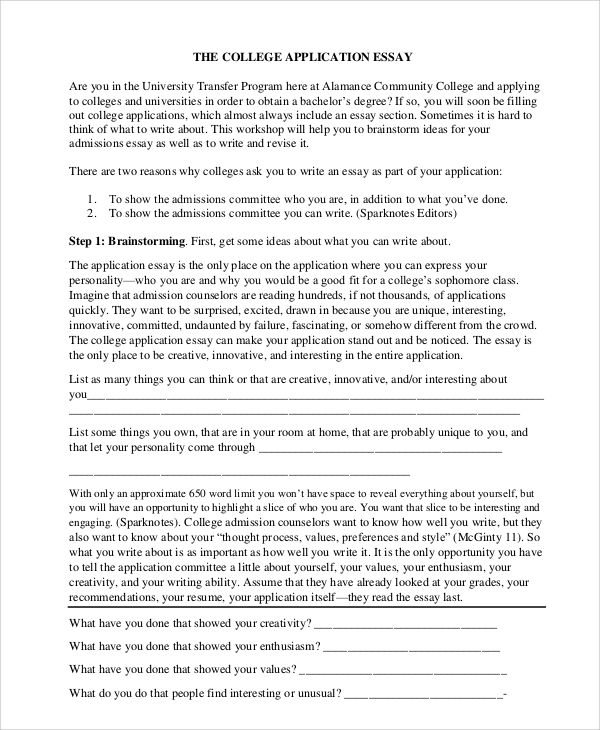 Examples of college application essays