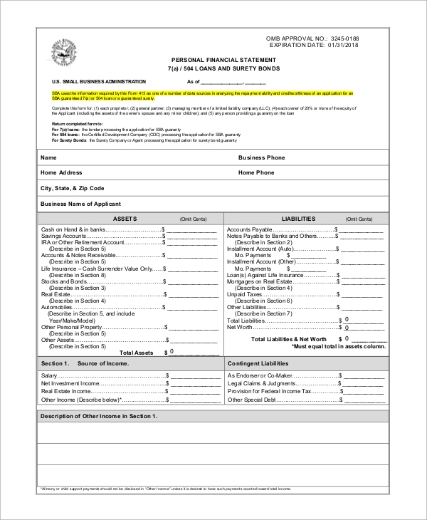 Sample Personal Financial Statement Form 9 Examples in PDF – Asset and Liability Statement Template