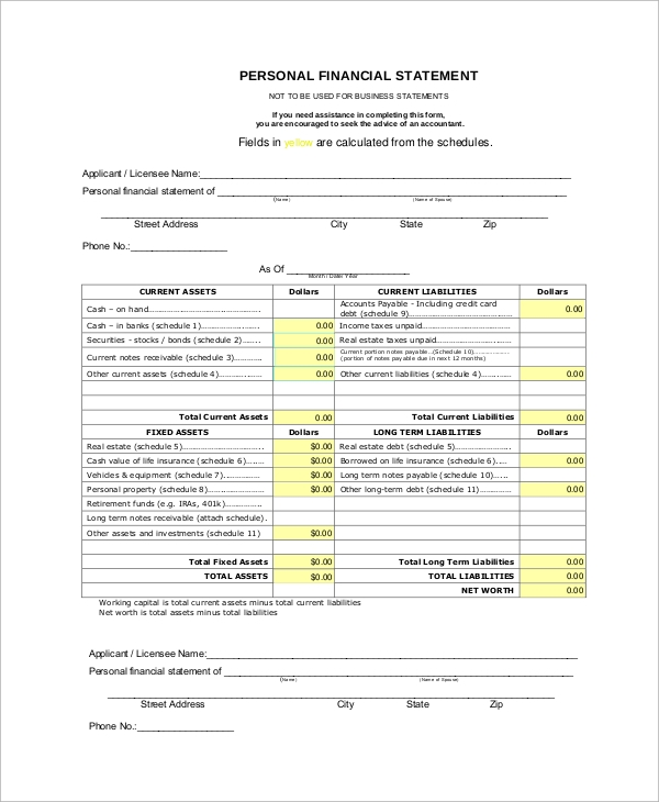 Sample Personal Financial Statement Form 9 Examples in PDF – Sample Personal Financial Statement Form