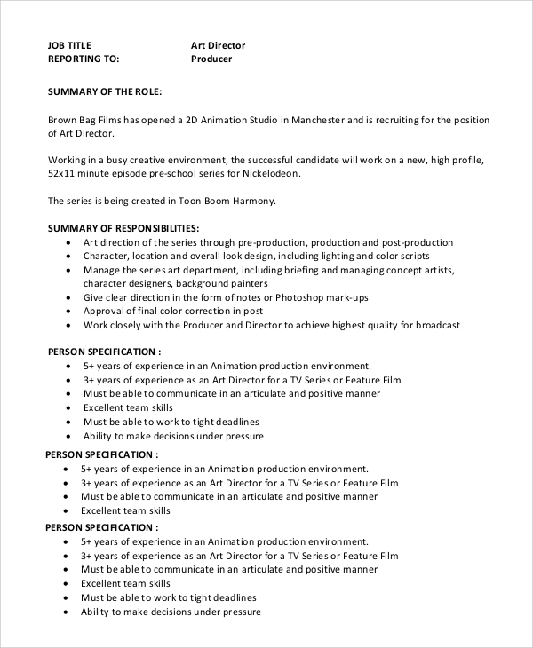 Sample Art Director Job Description 8 Examples in PDF Word – Production Director Job Description
