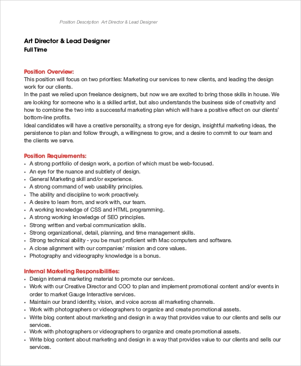 art director lead designer job description