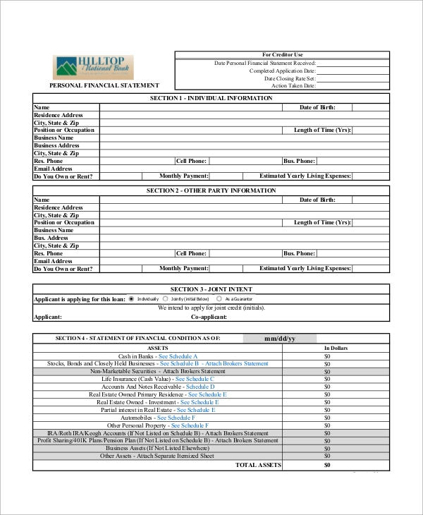 Sample Personal Financial Statement Form   Examples In Pdf