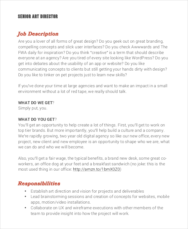 Awesome Art Director Job Description Photos  Best Resume Examples
