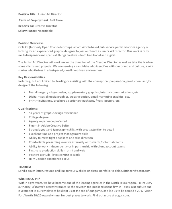 Sample Art Director Job Description - 8+ Examples In Pdf, Word