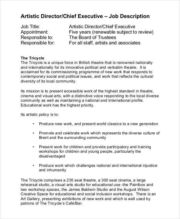 It Director Job Description Creative Director  Job Description