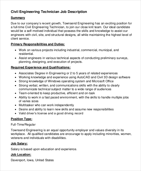 Sample Civil Engineer Job Description 8 Examples in PDF Word – Sample Engineer Job Description