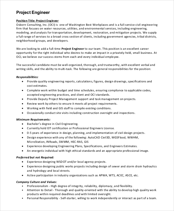 Sample Civil Engineer Job Description - 8+ Examples In Pdf, Word