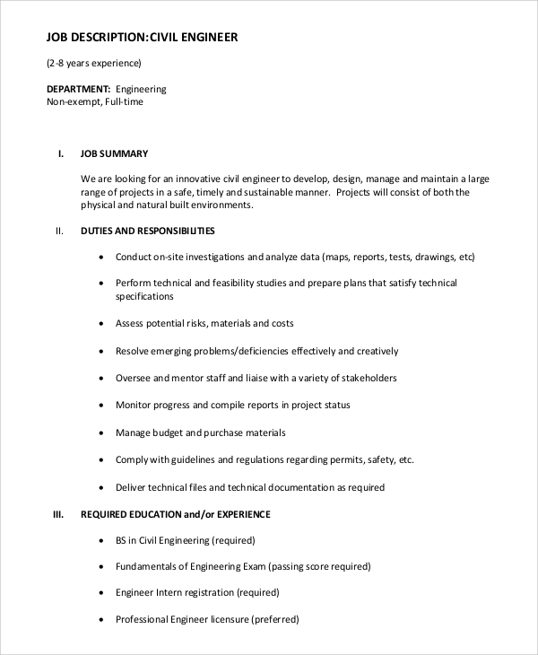 Sample Civil Engineer Job Description 8 Examples in PDF Word – Job Description of Civil Engineer