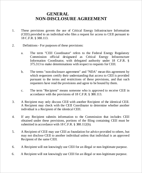 Sample Non Disclosure Agreement   Examples In Word Pdf