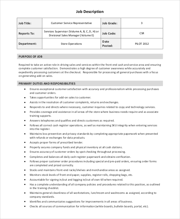 Sample Sales Representative Job Description   Examples In Word Pdf
