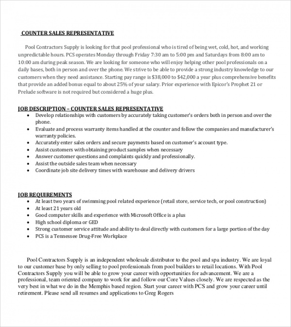 Sample Sales Representative Job Description 9 Examples in Word PDF – Sales Rep Job Description