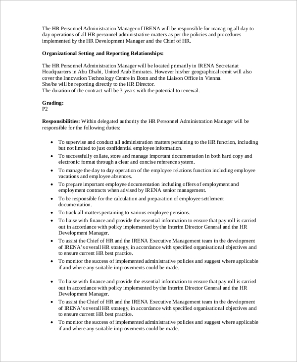 Sample Hr Manager Job Description - 9+ Examples In Pdf