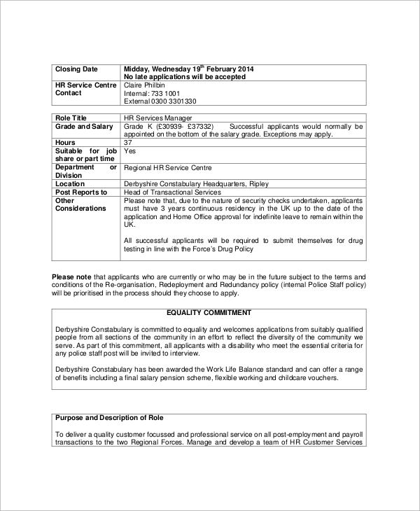 Sample Hr Manager Job Description   Examples In