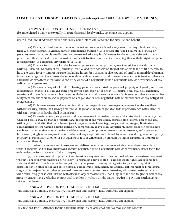 Sample General Power Of Attorney Form - 8+ Examples In Pdf, Word