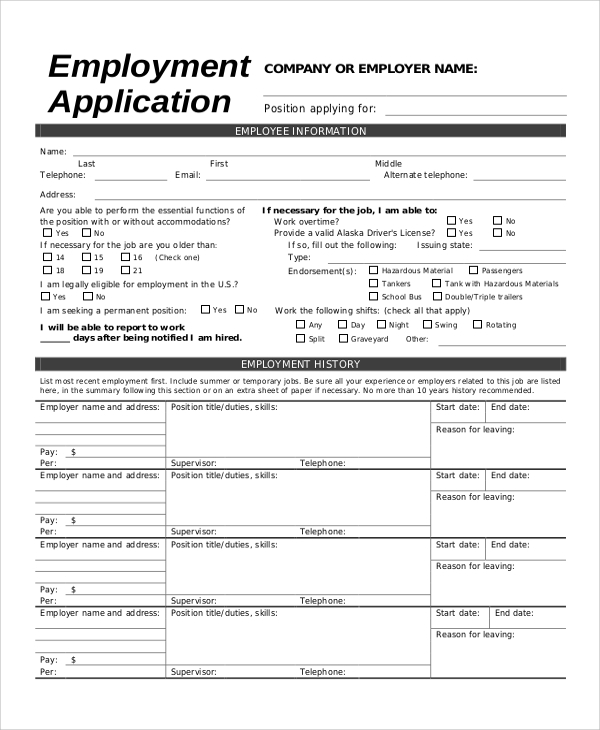 printable job application for employer