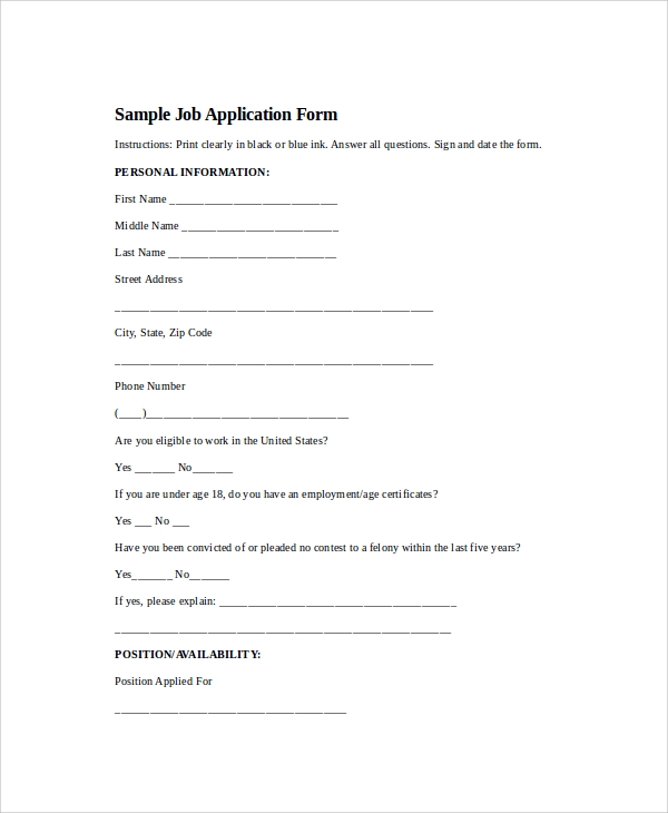 free 7  printable application templates in ms word