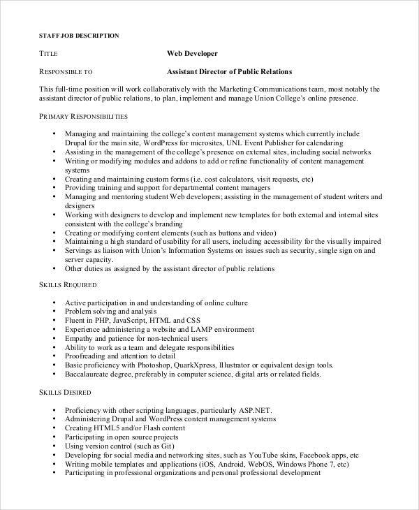 Sample Web Developer Job Description - 8+ Examples in PDF, Word