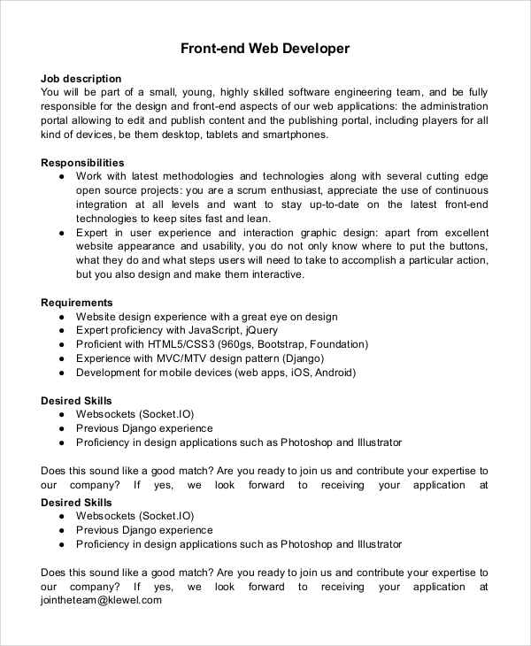 Sample Web Developer Job Description   Examples In Pdf Word