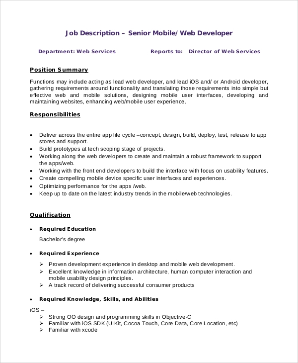 Sample Web Developer Job Description 8 Examples in PDF Word – Web Developer Job Description