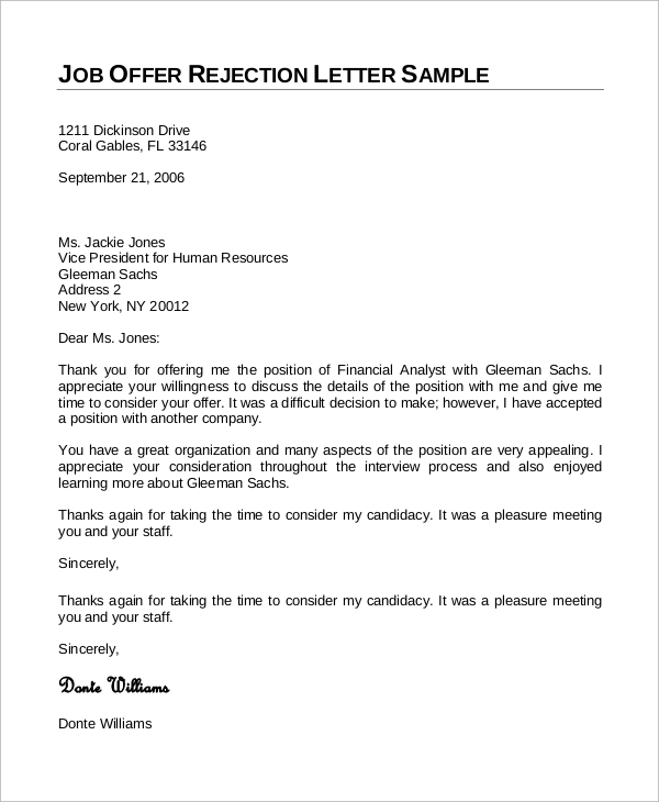 Sample Job Rejection Letter 8 Examples in Word PDF