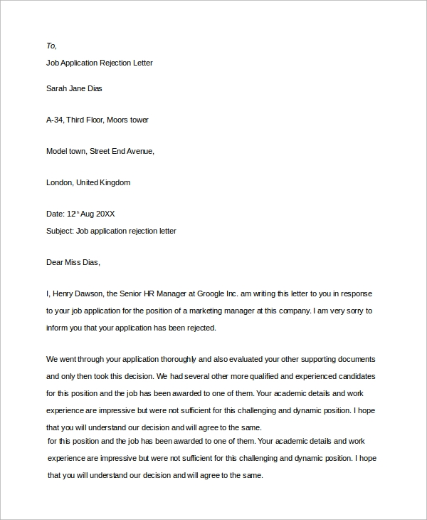 Sample Job Rejection Letter 8 Examples in Word PDF – Sample Applicant Rejection Letter