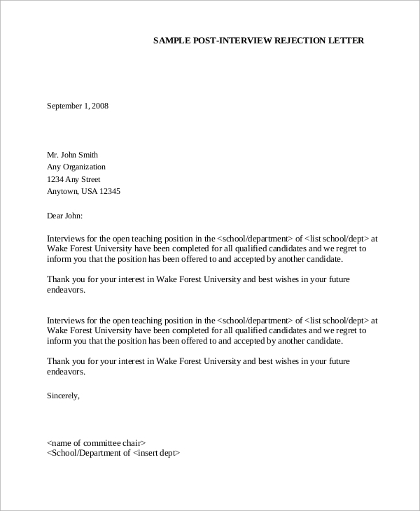 interview rejection letter 8 sample rejection letters sample templates 1333