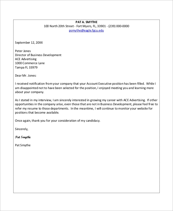 8 Sample Job Rejection Letters Sample Templates