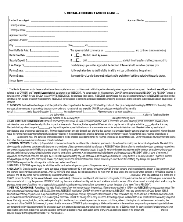 9 Printable Lease Agreements Sample Templates