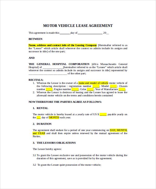 printable vehicle lease agreement