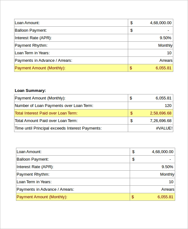 amortization calculator worksheet excel