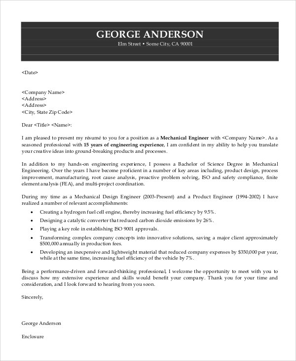 Sample Engineering Cover Letter - 7+ Examples In Pdf