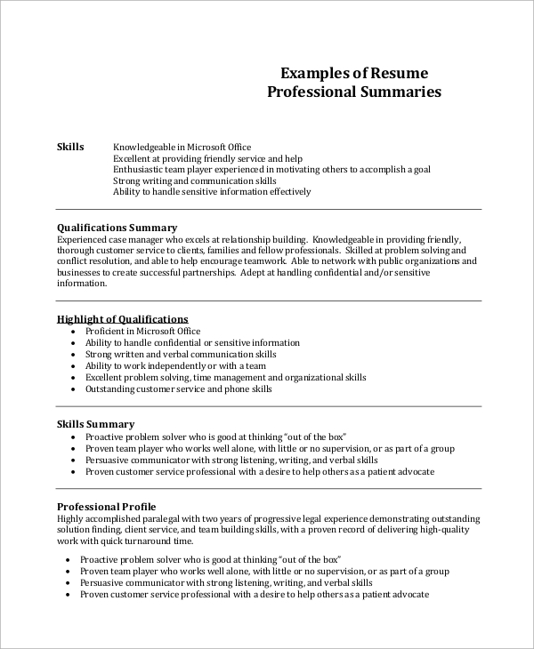 Resume Professional Summary Example  Resume Skills Summary Examples