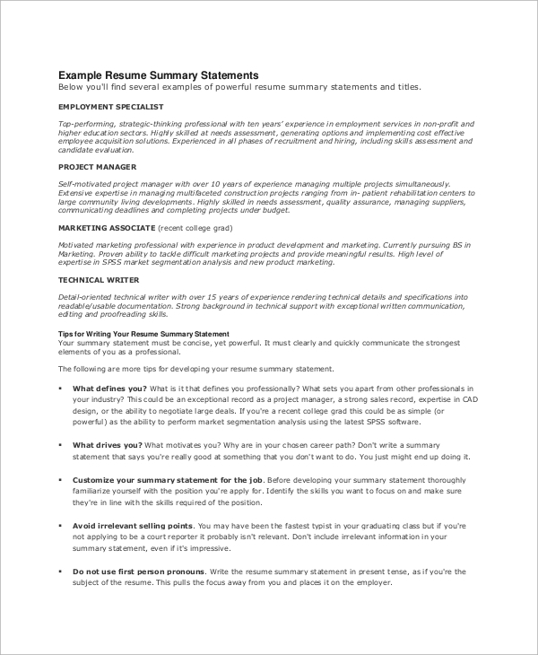 resume summary statement example - Example Of Resume Summary Statements