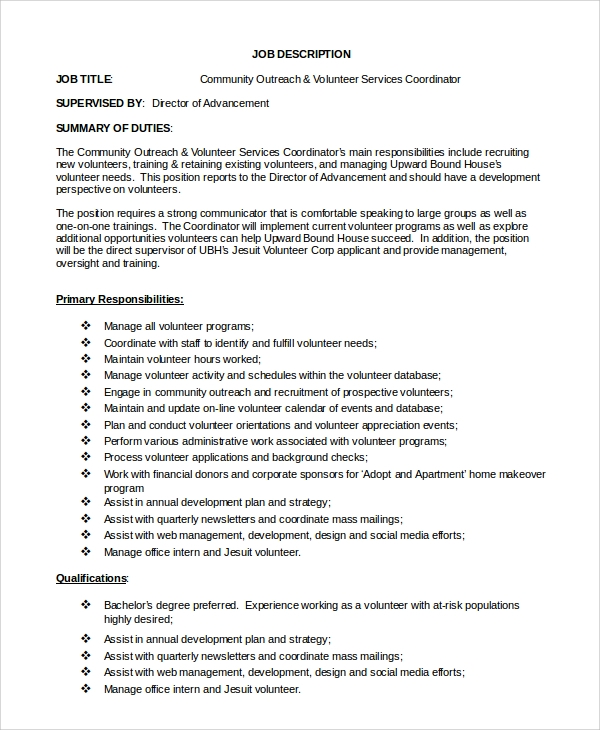 Sample Program Coordinator Job Description 9 Examples in PDF Word – Word Job Description Template