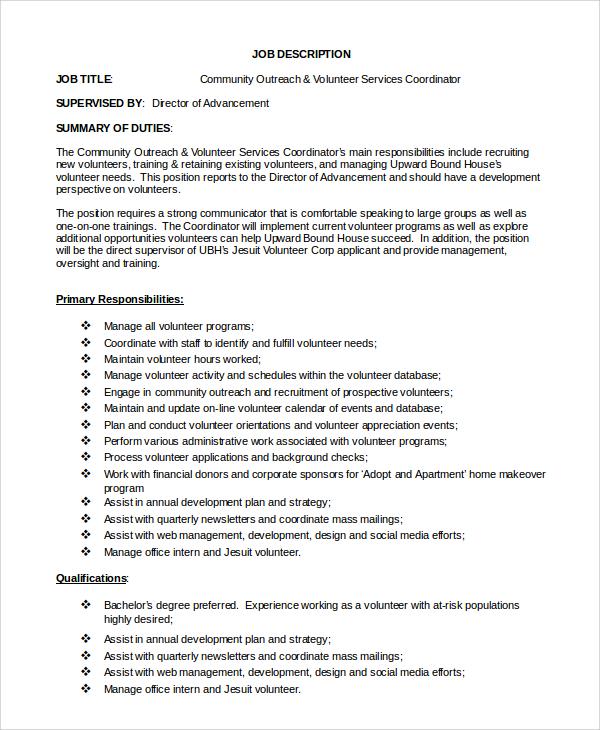 volunteer manager resume