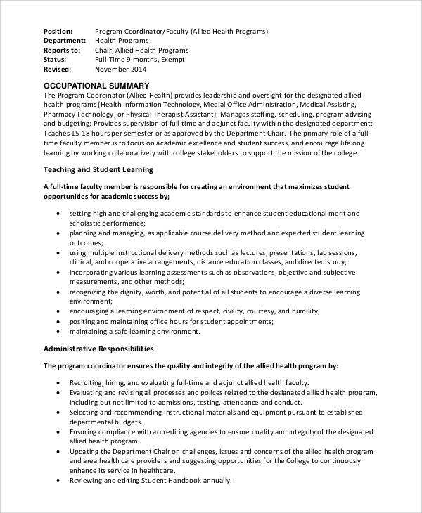 Sample Program Coordinator Job Description 9 Examples in PDF Word – Coordinator Job Description