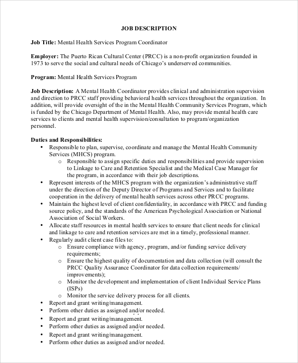 Sample Program Coordinator Job Description - 9+ Examples In Pdf, Word