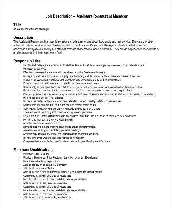 Sample Restaurant Manager Job Description   Examples In Pdf Word