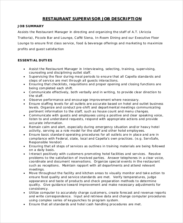 Sample Restaurant Manager Job Description 8 Examples in PDF Word – Dishwasher Job Description
