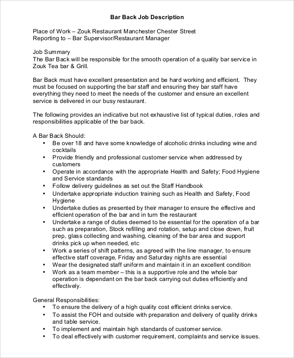 Sample Restaurant Manager Job Description - 8+ Examples In Pdf, Word
