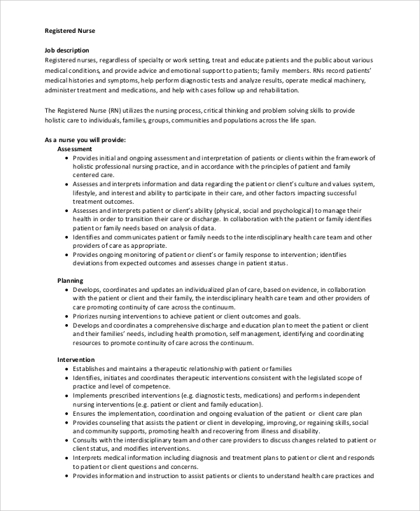 Sample Rn Job Description   Examples In Pdf Word
