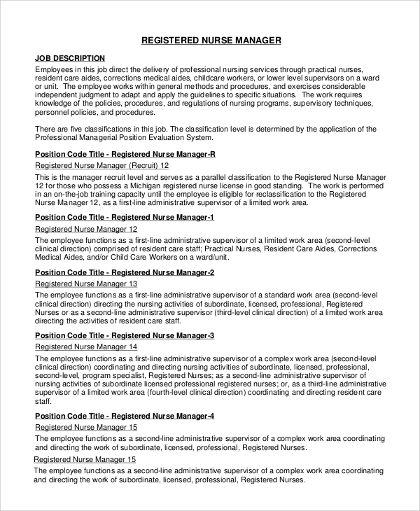 Sample RN Job Description 9 Examples in PDF Word – Registered Nurse Job Description