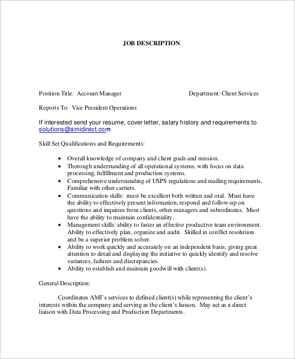 Account Manager Job Description Sample  Account Manager Job Description