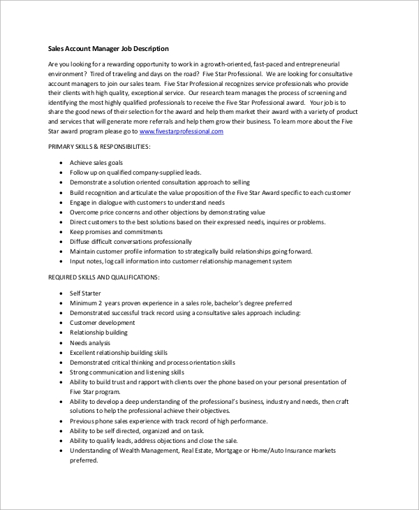 Sample Accounting Job Description 8 Examples in PDF – Accounting Manager Job Description