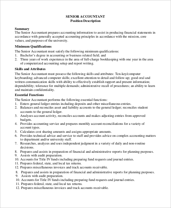 Sample Accounting Job Description - 8+ Examples In Pdf