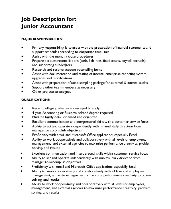 Sample Accounting Job Description   Examples In