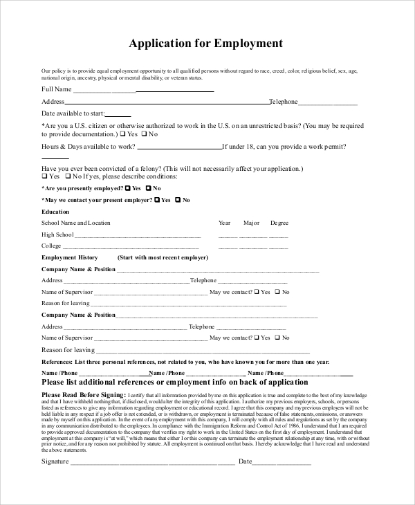 Sample Generic Job Application 8 Examples in PDF – Generic Application for Employment