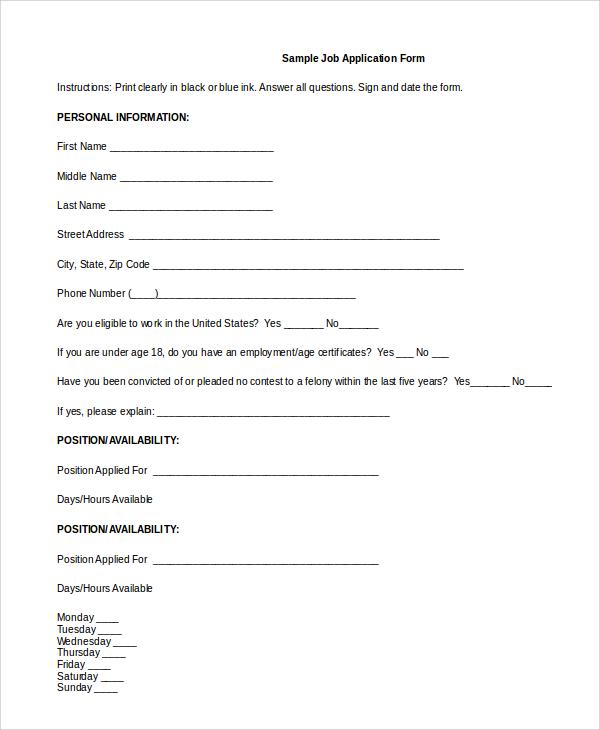free 8  sample generic job application templates in pdf