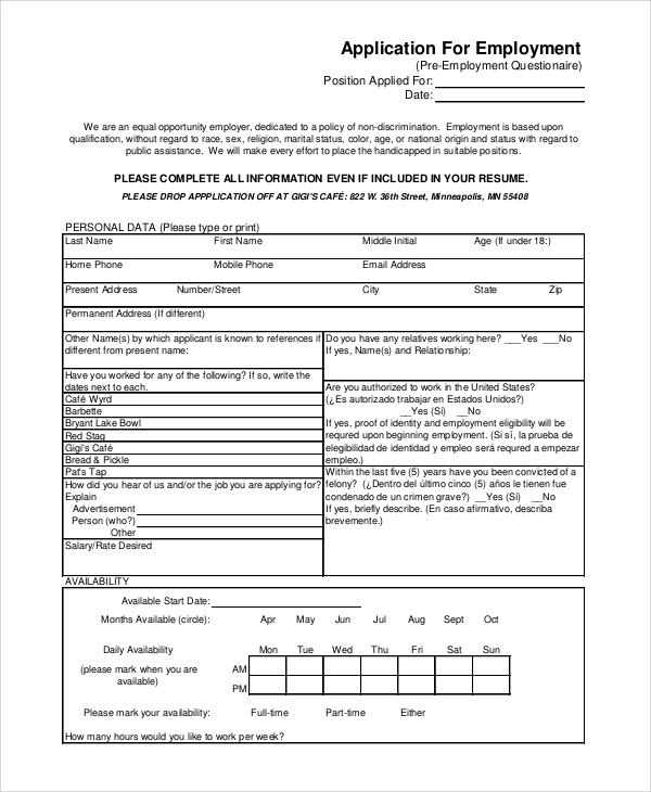 Standard Employment Application  SaveBtsaCo